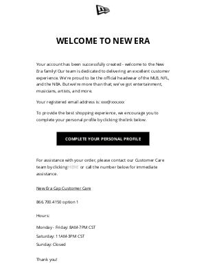New Era Cap - Your account has been Created!
