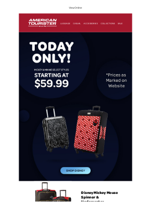 American Tourister - Today ONLY Mickey & Minnie luggage deals
