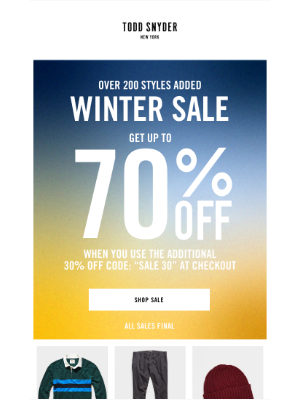 Todd Snyder - Over 200 styles added to SALE: up to 70% off starts now.