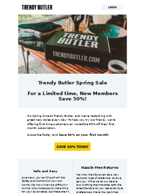 Trendy Butler - Spring New Look Sale at Trendy Butlers - Save 50%