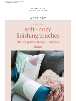 The quickest home refresh: 20% off pillows, throws + curtains