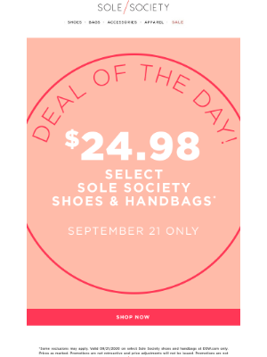 Sole Society - Deal of the Day! $24.98 Shoes and Bags