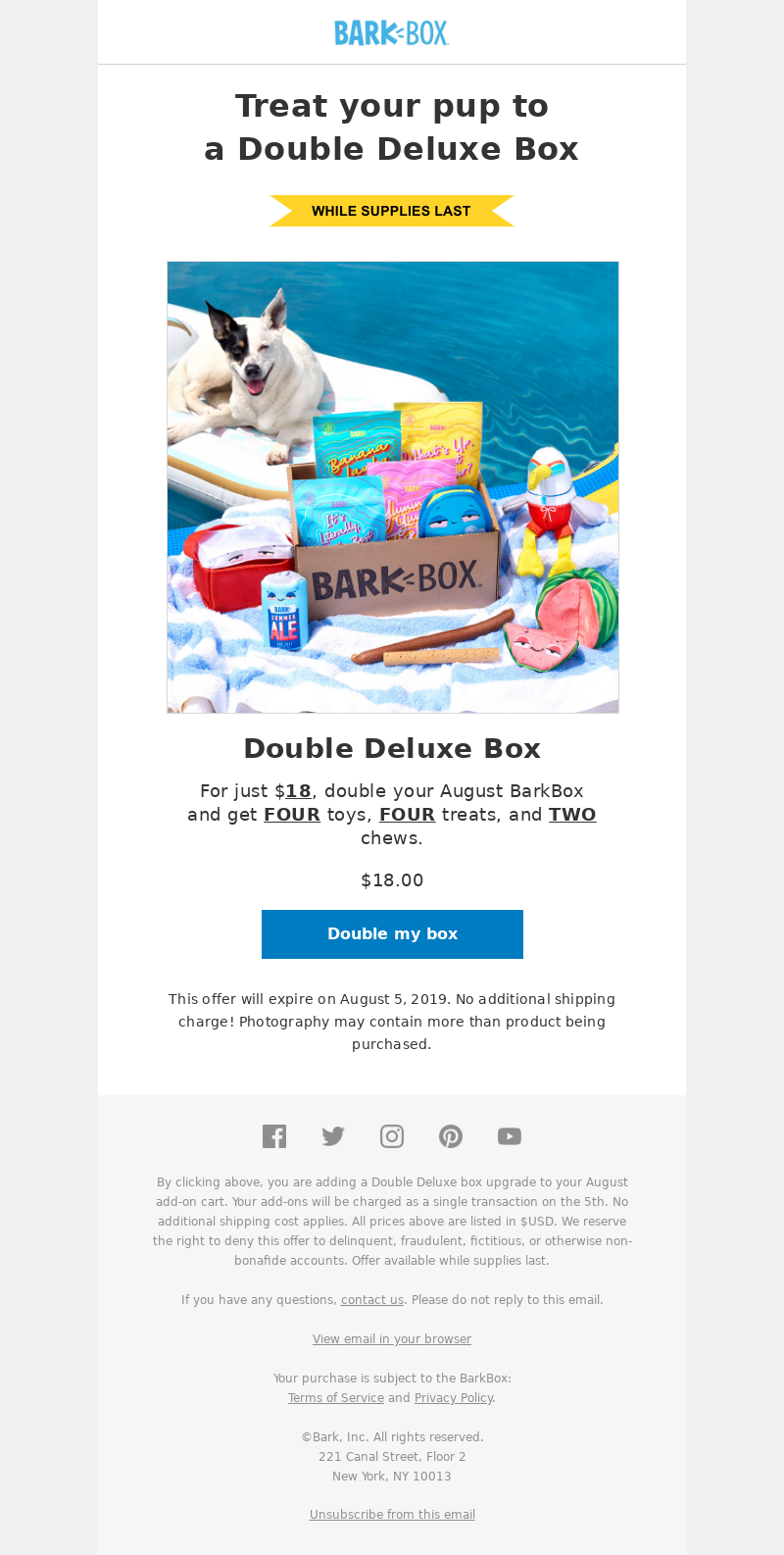BarkBox Treat your pup to a Double Deluxe Box Double Deluxe Box For just $1