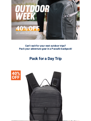 Pacsafe - Craving the outdoor? Pack your adventure gear with our backpacks!