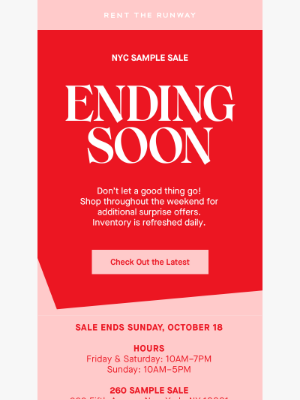 Rent the Runway - Final Days! NYC Sample Sale