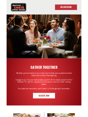Ruth's Chris - Reserve Your Family's Thanksgiving Table