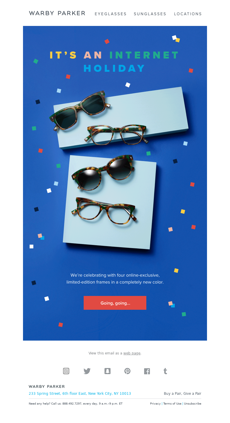 Cyber Monday email from Warby Parker