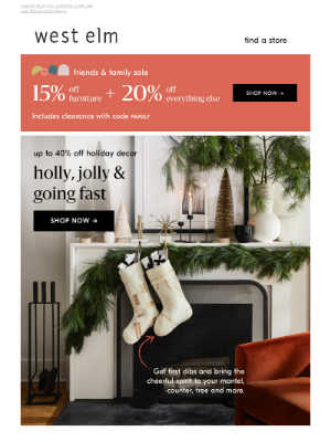 Pottery Barn - Merry & going fast: Up to 40% off NEW holiday decor  