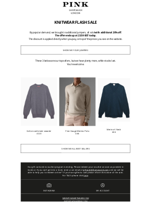 Thomas Pink (UK) - Additional 20% on knitwear - Last call