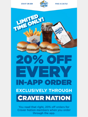 White Castle - Get 20% off all Craver Nation orders!