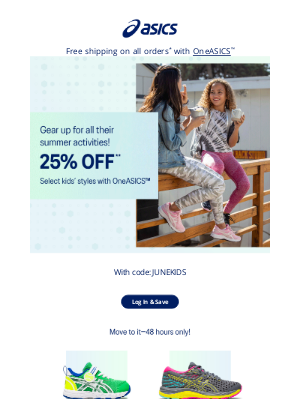 ASICS - 2 days only: 25% off select kids' wear
