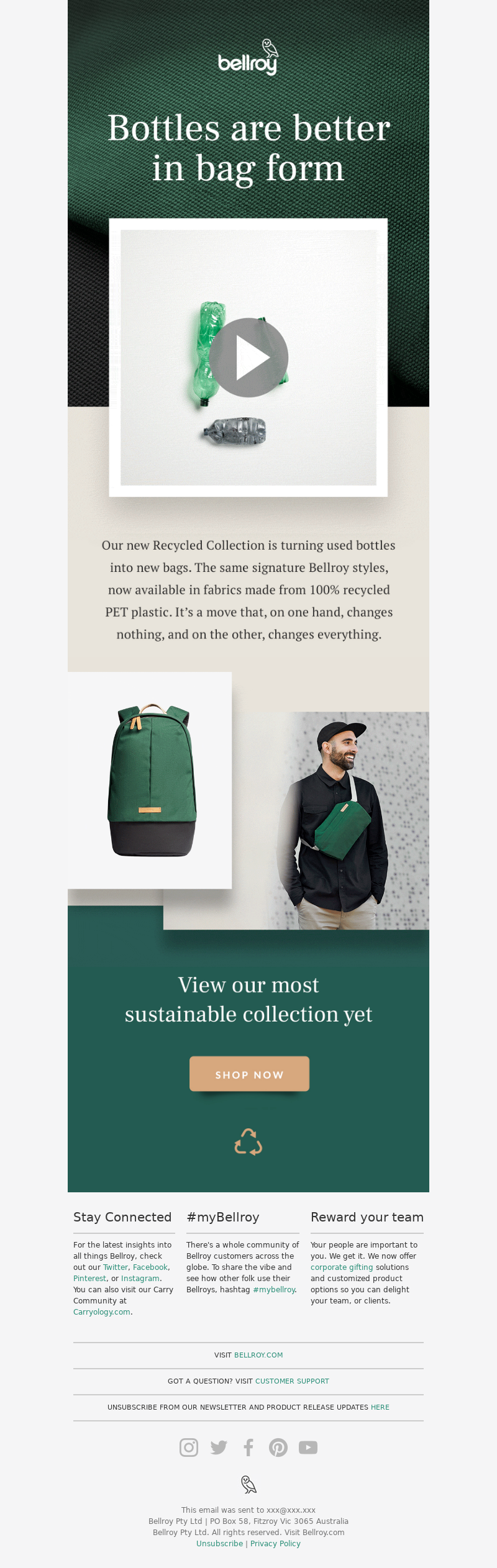 Bellroy - ♻️We're turning used plastic bottles into new Bellroy bags