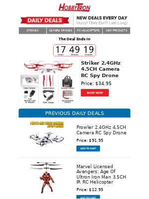 $34.95 -Striker 2.4GHz 4.5CH Camera RC Spy Drone