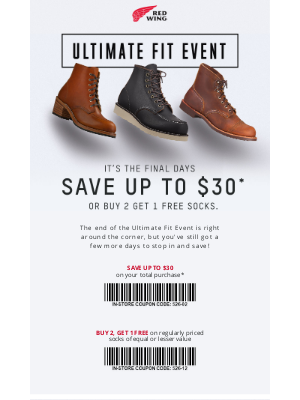 Red Wing Heritage - Last Chance to Redeem $30 Off Heritage Boots