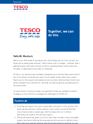 Together, we can do this – a message from Tesco CEO Dave Lewis