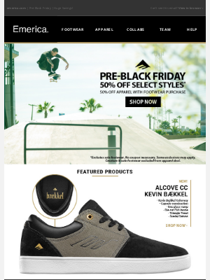 Emerica - Pre-Black Friday   Save up to 50%