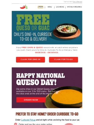 Chili's Grill & Bar - Enjoy FREE Chips & Queso on your next visit!