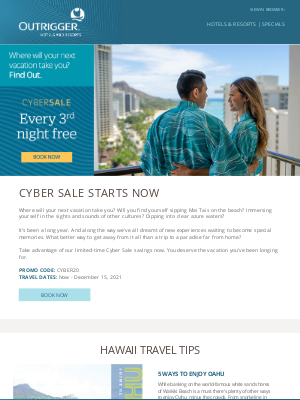 Outrigger Hotels - Hello Vacation: CYBER SALE Starts Now