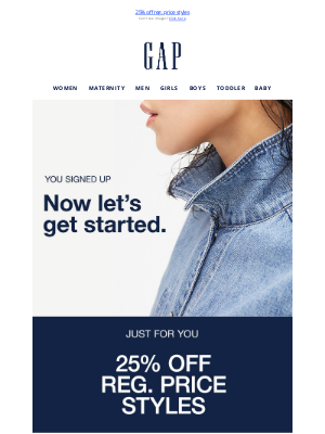 Gap - You're officially in! Your welcome gift is inside