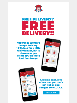Wendy's - 100% FREE Delivery is Appening