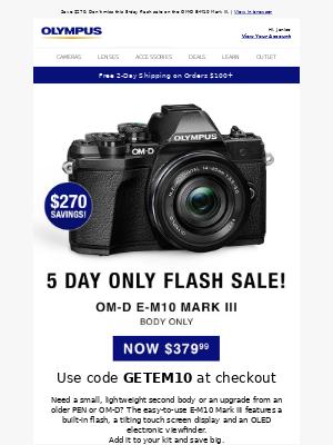 Olympus - E-M10 Mark III Flash Sale: $379.99, 5 Days Only