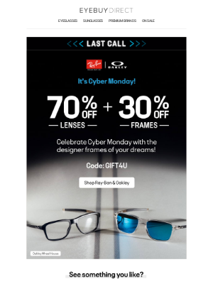 EyeBuyDirect - 70% off lenses + 30% off frames on Premium Brands ⌛ Now's your (last) chance