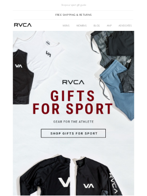 RVCA - Gifts for the Athlete + Last Day of Free Second Day Shipping
