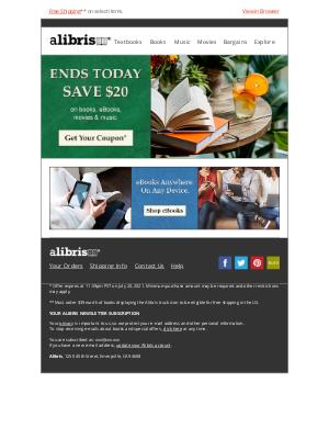Alibris - Your $20 coupon expires at midnight, lillie