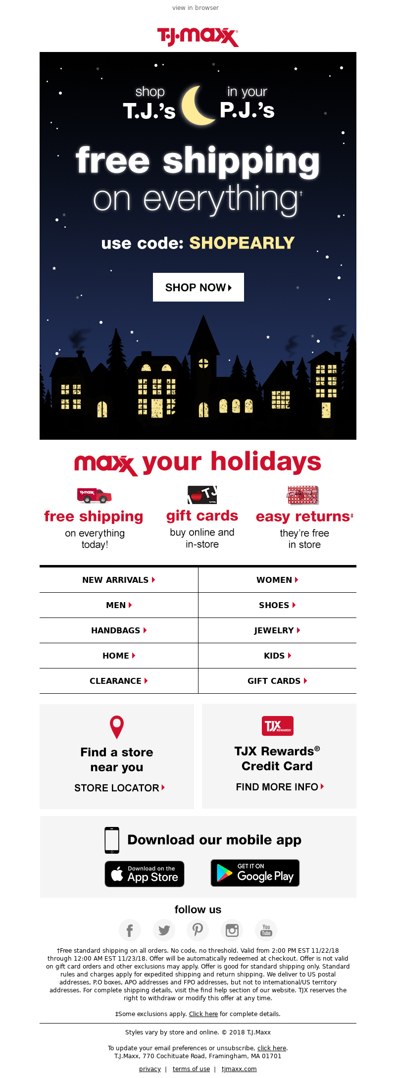 Promotional thanksgiving email example from T.J. Maxx