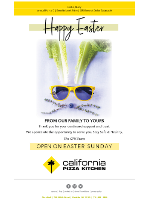 California Pizza Kitchen - We're Open On Easter Sunday