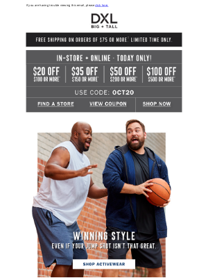 DXL - Save Up to $100 Hut-Hut-On NFL Gear, Activewear + More!