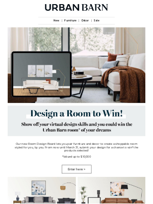 Urban Barn (CA) - Design & Win a Room - Up to $10,000!