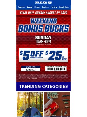 $5 off $25 - Final Day!
