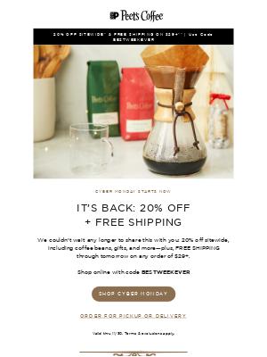 Peet's Coffee - Your Cyber Monday sneak peek is here 👀
