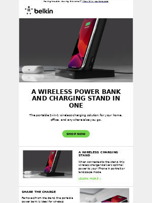 A power bank, a charging stand, and hours of extra power