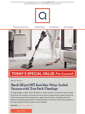 QVC (UK) - See Today's Special Value Pre-Launch: Shark HZ500UKT Anti Hair Wrap Corded Vacuum with True Pet & Flexology