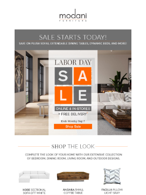 Modani Furniture - Labor Day Sale Starts Today! 🇺🇸🇺🇸🇺🇸