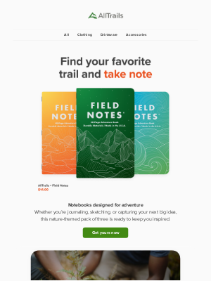 AllTrails - AllTrails x Field Notes: Pocket journals inspired by the trail