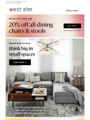 Small-space furniture & an EXTRA 50% off clearance in stores!