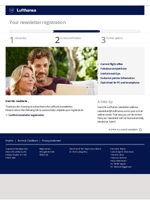 Lufthansa - Please confirm your Lufthansa Newsletter Registration