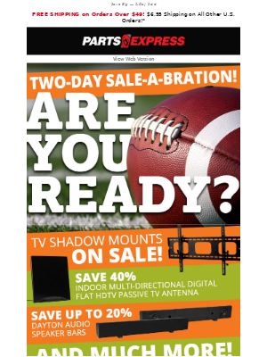 🏈 2-Day Big Game Sale-A-Bration Plus Free Shipping @ $49+!