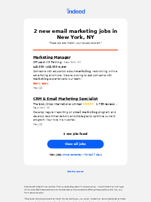 The Body Shop International Limited is hiring for CRM & Email Marketing Specialist. 1 more email marketing jobs in New York, NY.