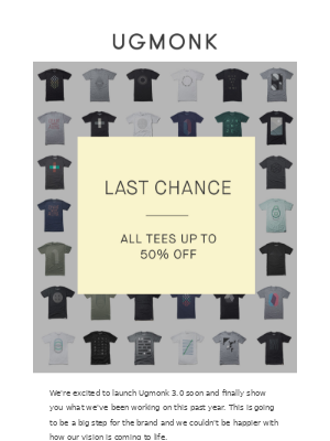 Last chance to grab any of our existing tees