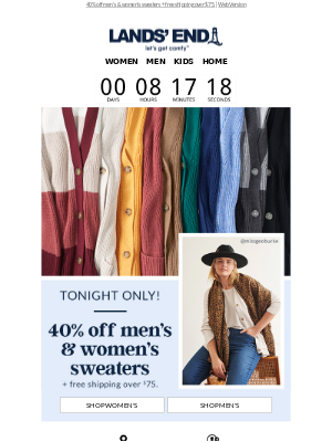 Lands' End - Fall's calling! 40% off men's & women's sweaters, tonight only