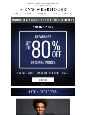 Men's Wearhouse - Midnight Madness on your top picks! up to 80% off