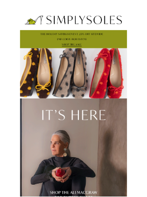 Simply Soles - NEW: Ali MacGraw for Butter Shoes