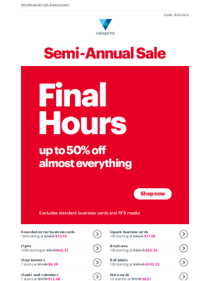Vistaprint - FINAL HOURS ⌛ Up to 50% off almost everything