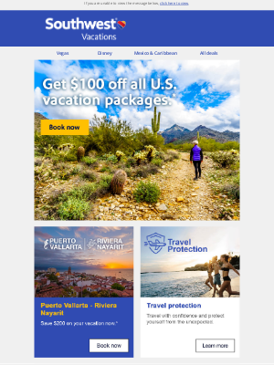 Southwest Vacations - How does $100 off your next getaway sound?