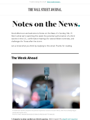 The Wall Street Journal - Notes on the News: U.S. Awaits Verdict on Third Vaccine