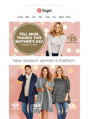 New season women's fashion for less | View this email in your browser Targe